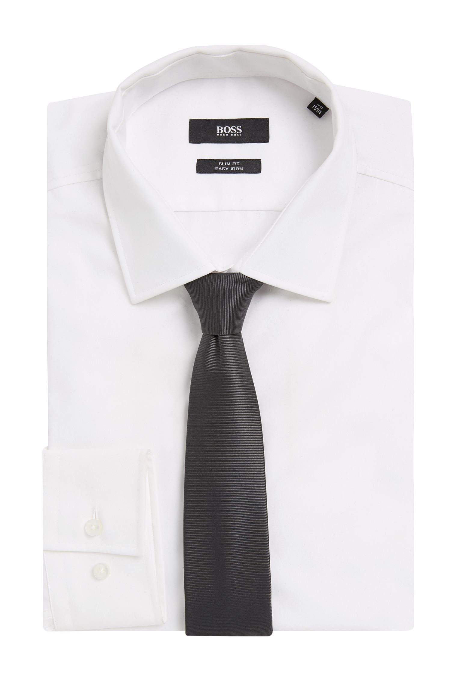 BOSS Tailored Italian Silk Slim Tie, Charcoal