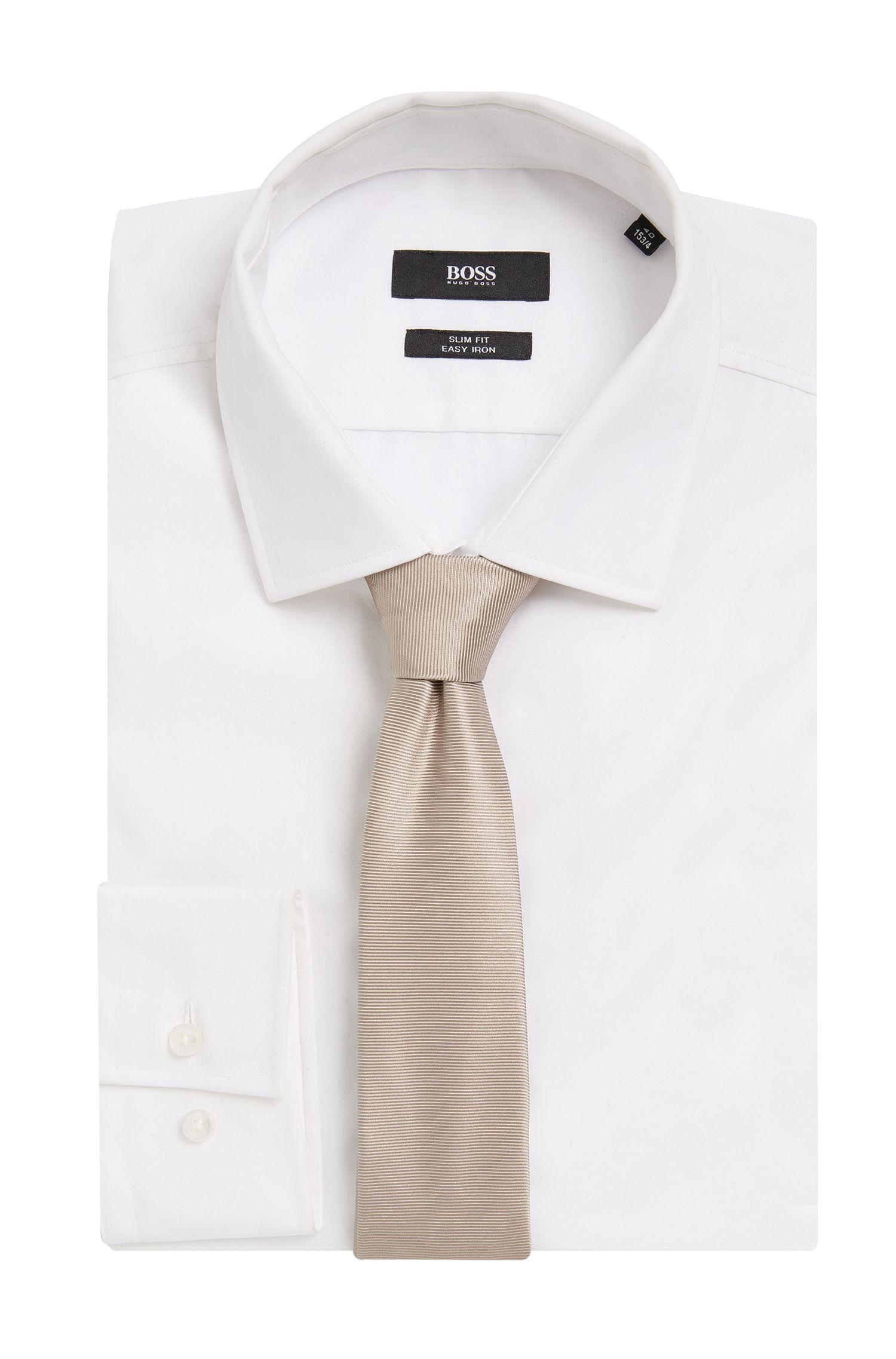 BOSS Tailored Italian Silk Slim Tie, Open Beige