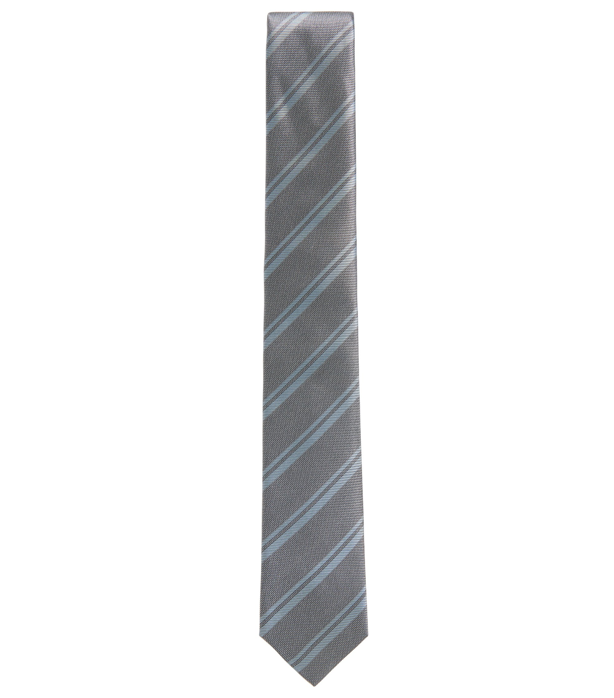 BOSS Tailored Striped Italian Silk Tie, Open Grey