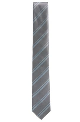 BOSS Tailored Striped Italian Silk Tie, Open Grey