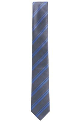 BOSS Tailored Striped Italian Silk Tie, Blue