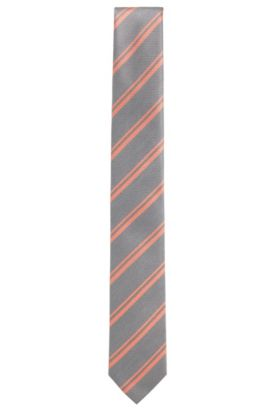 'T-Tie 6 cm' | Slim, Striped Italian Silk Tie, Open Red