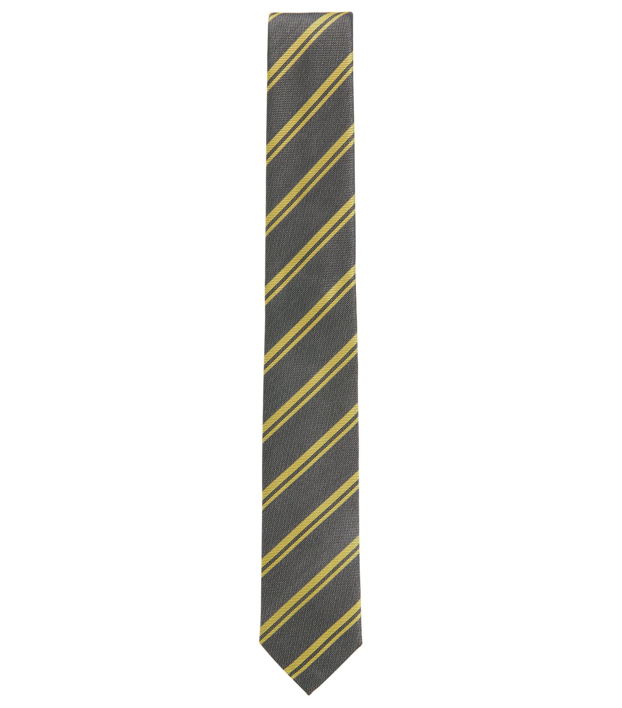 BOSS Tailored Striped Italian Silk Tie, Yellow