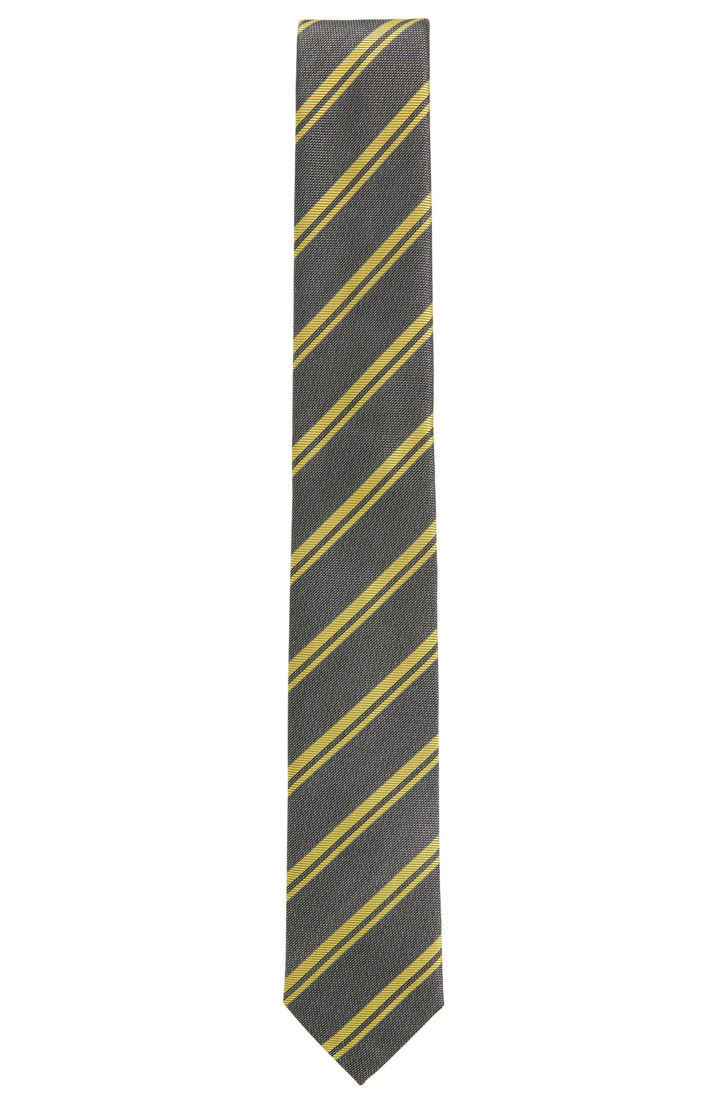 BOSS Tailored Striped Italian Silk Tie, Yellow