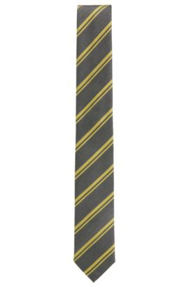 'T-Tie 6 cm' | Slim, Striped Italian Silk Tie, Yellow
