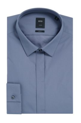 2-Ply Cotton Dress Shirt, Slim Fit | T-Craig, Dark Grey
