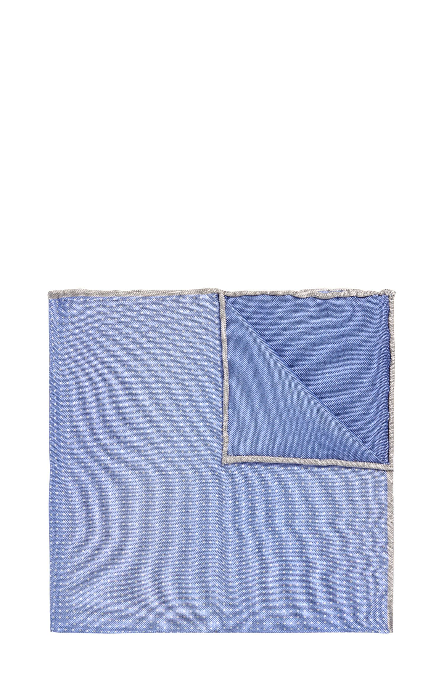 BOSS Tailored Pindot Italian Silk Pocket Square, Blue
