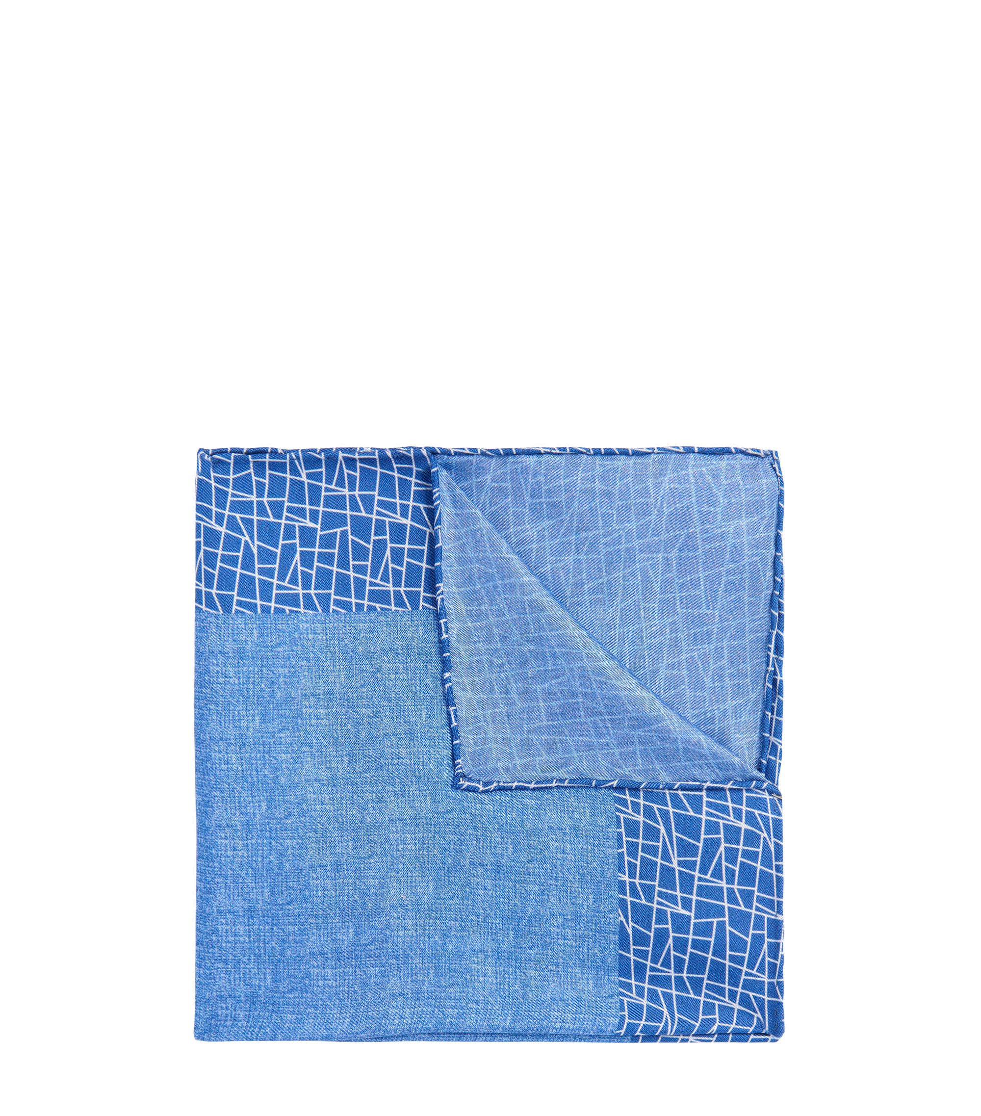 BOSS Tailored Italian Silk Pocket Square, Blue