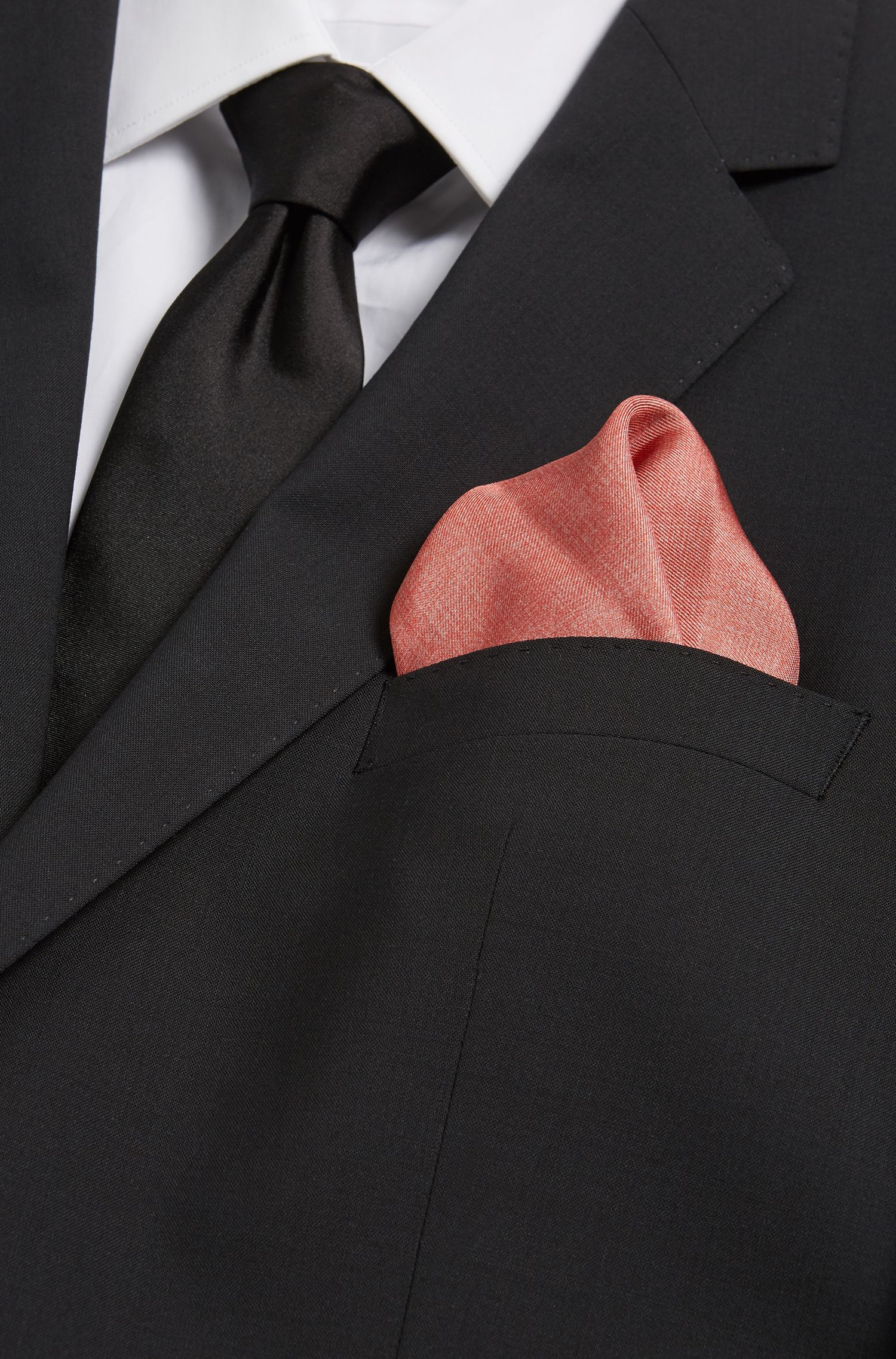 BOSS Tailored Italian Silk Pocket Square, Open Red