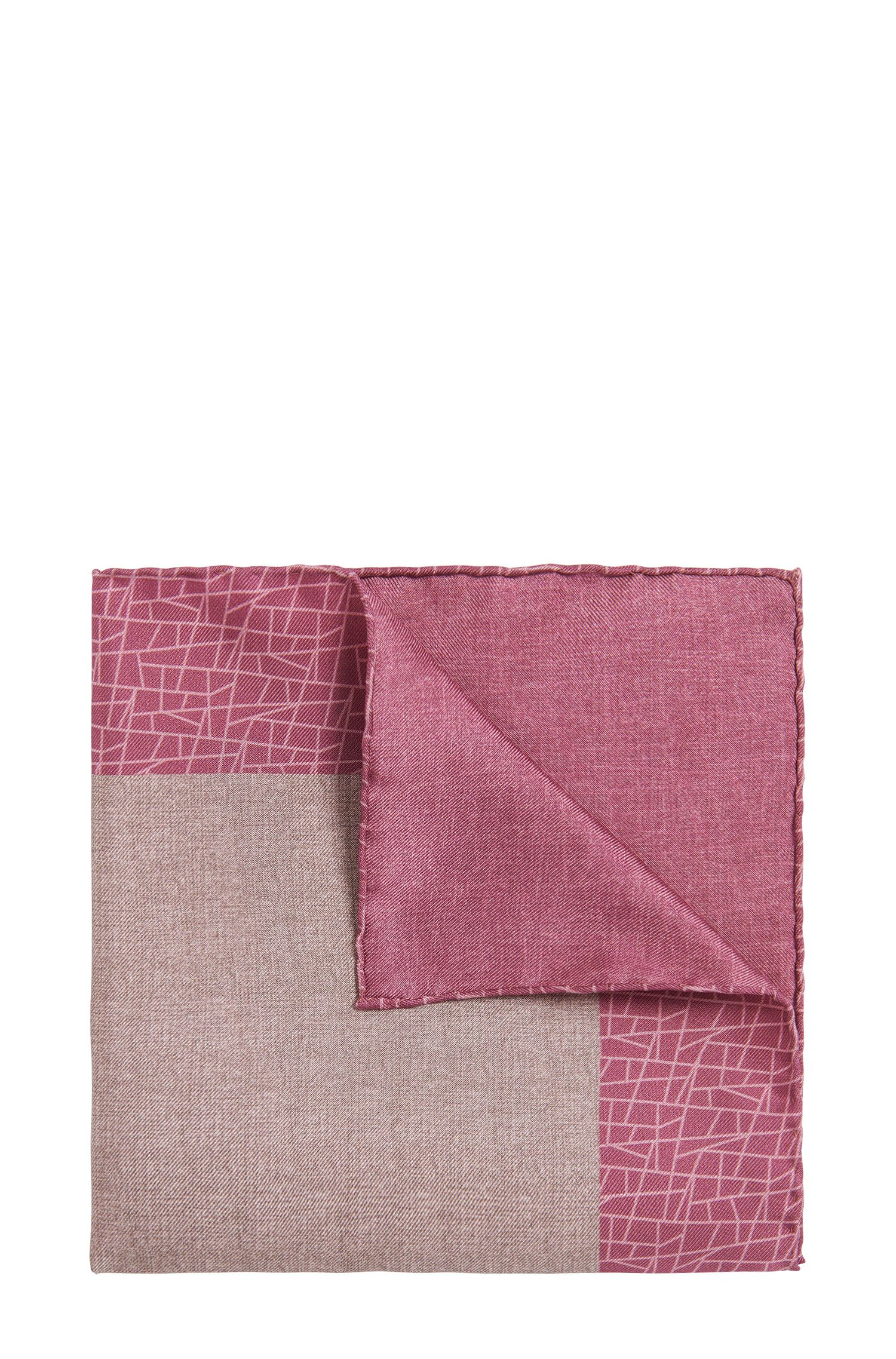 BOSS Tailored Italian Silk Pocket Square, Pink