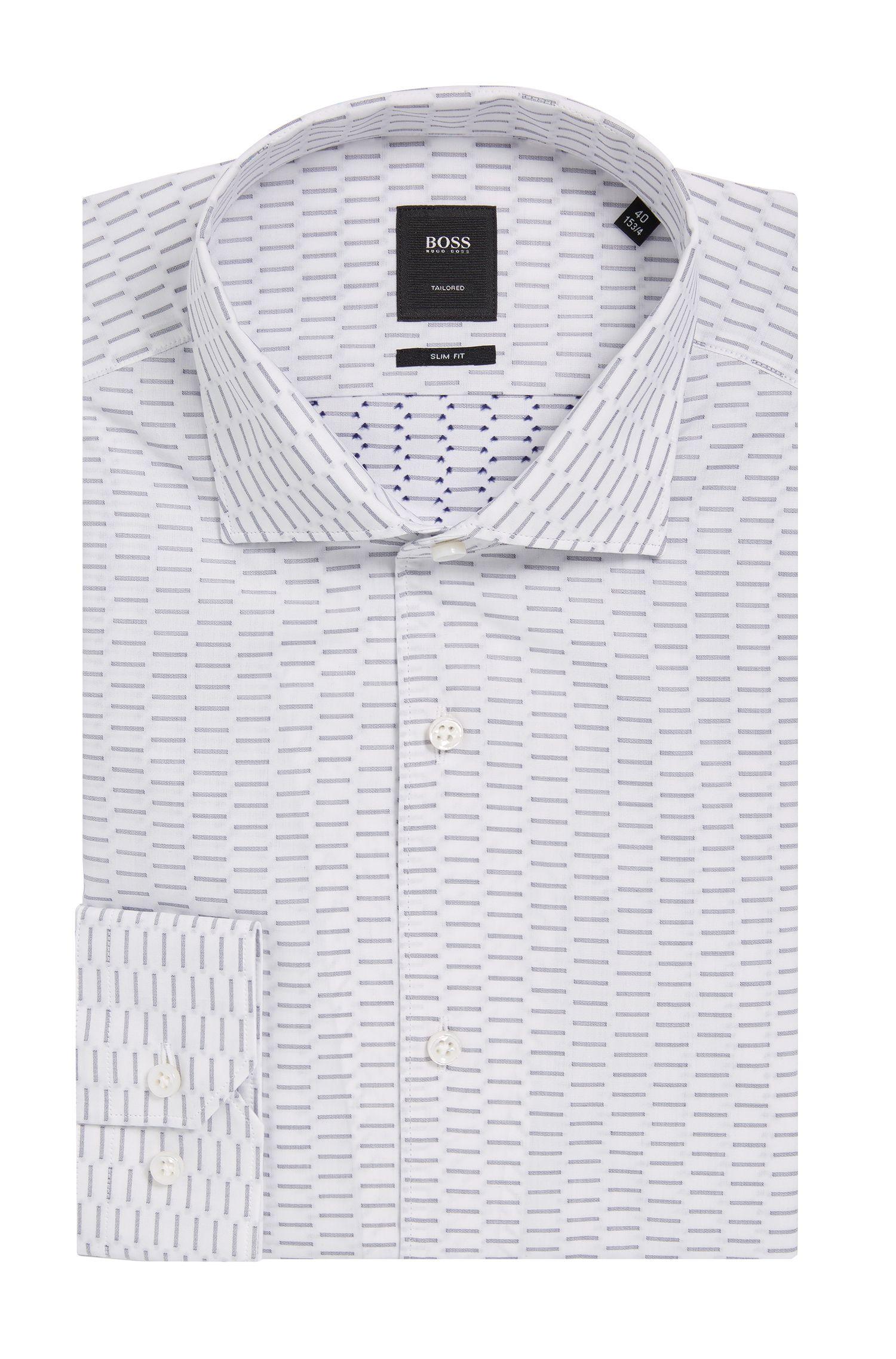 Dash Print Cotton Dress Shirt, Slim Fit   T-Steven
