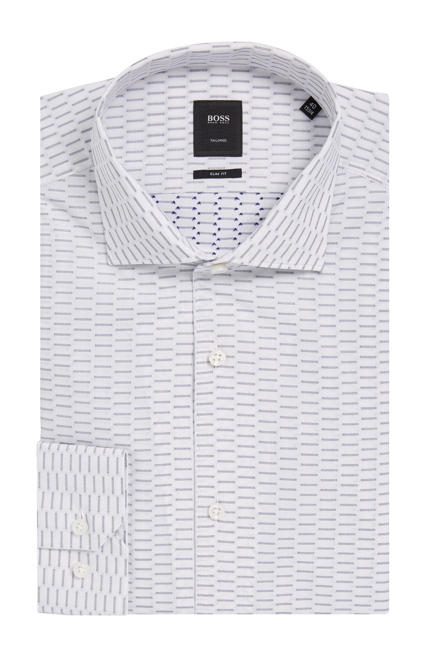 'T-Steven' | Slim Fit, Tailored Dash Printed Cotton Dress Shirt