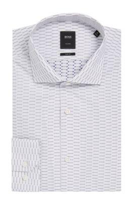 Dash Print Cotton Dress Shirt, Slim Fit   T-Steven, Dark Blue