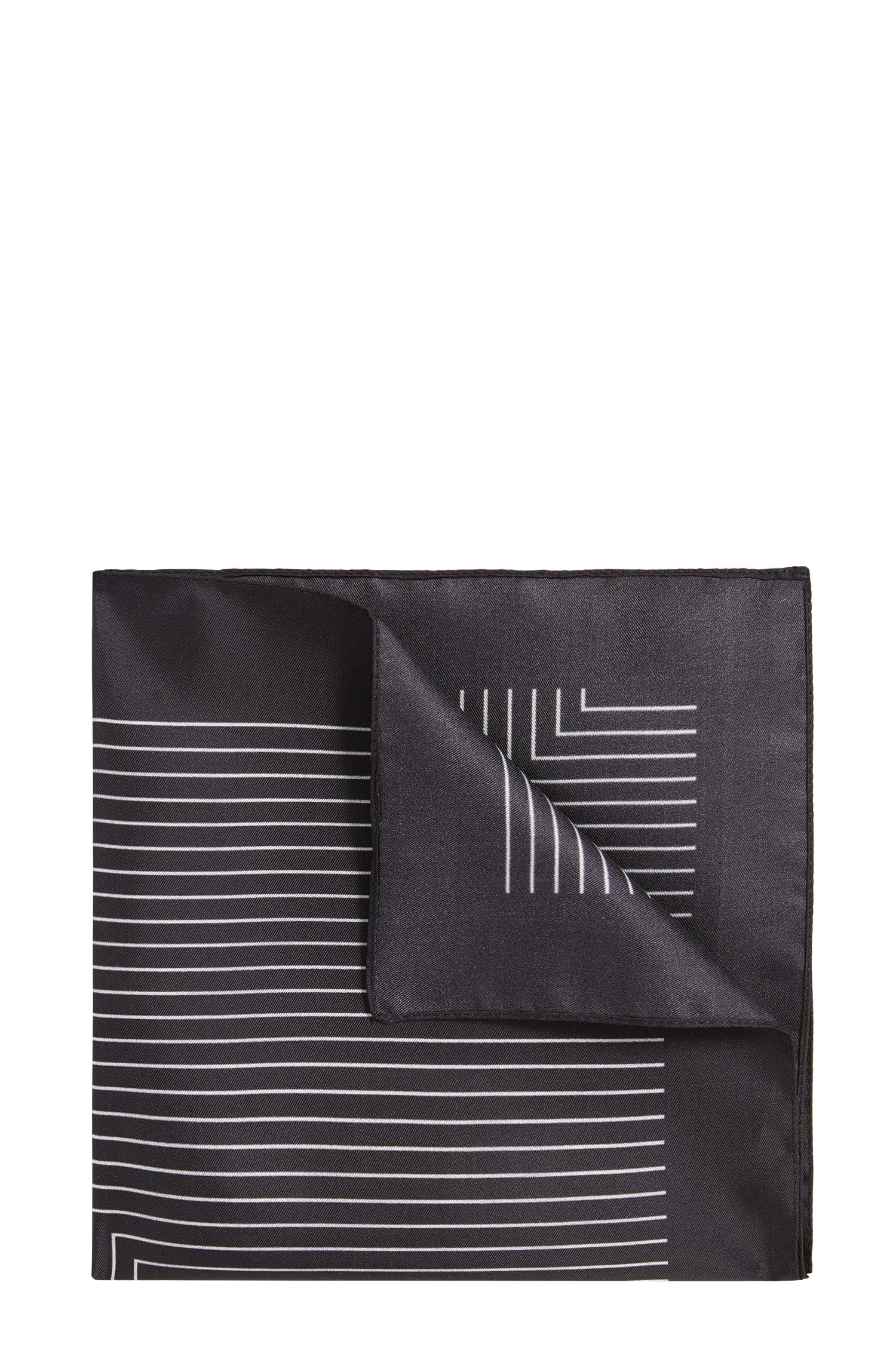 'Pocket sq. cm 33x33' | Striped Silk Pocket Square
