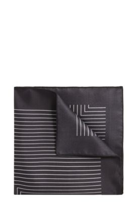 Striped Italian Silk Pocket Square, Charcoal