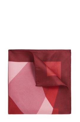 Striped Italian Silk Pocket Square, Pink