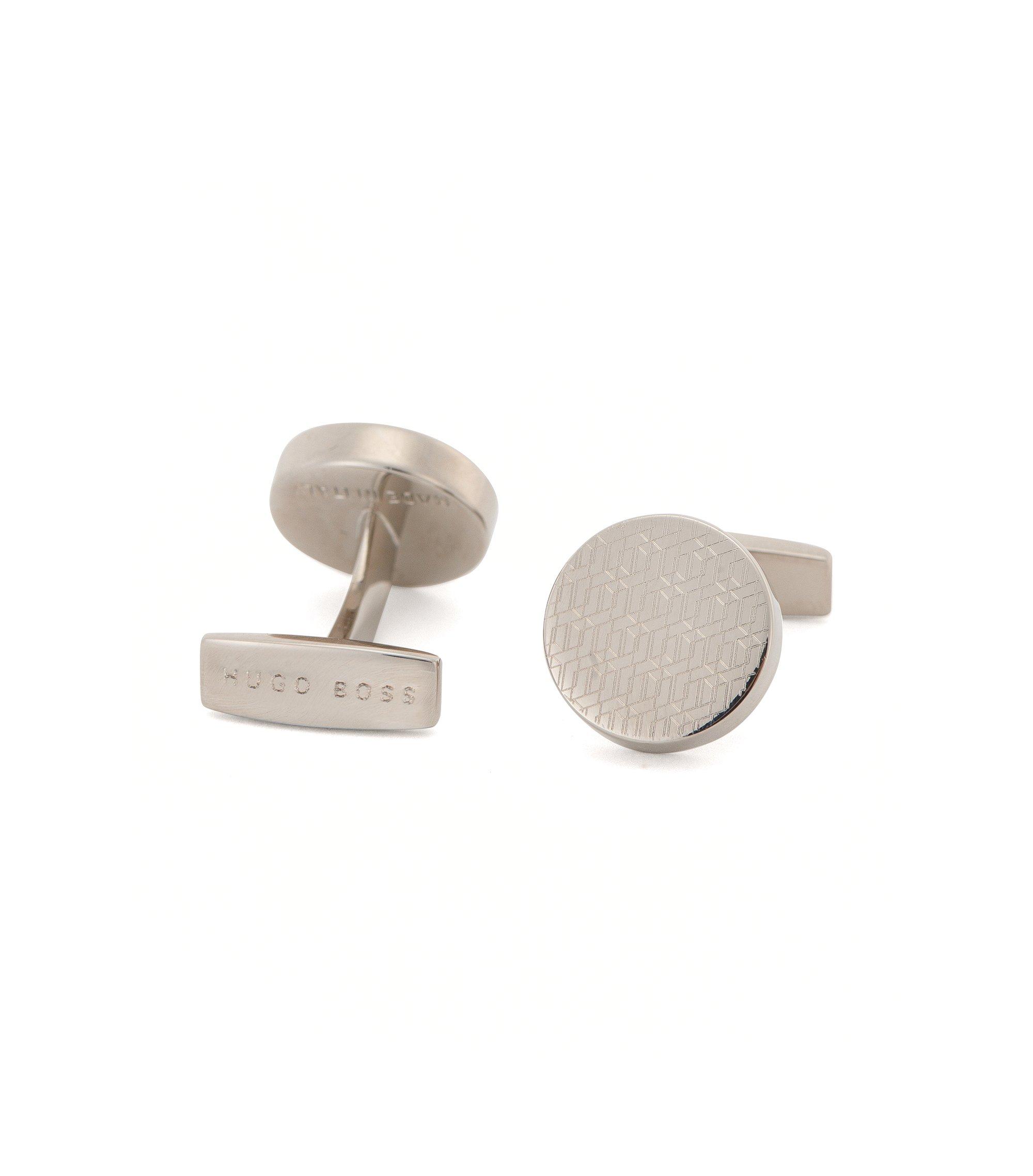 Polished Brass Cufflinks | Jonny, Silver