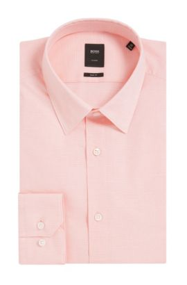 Italian Stretch Cotton Dress Shirt, Slim Fit | T-Clint, Light Orange