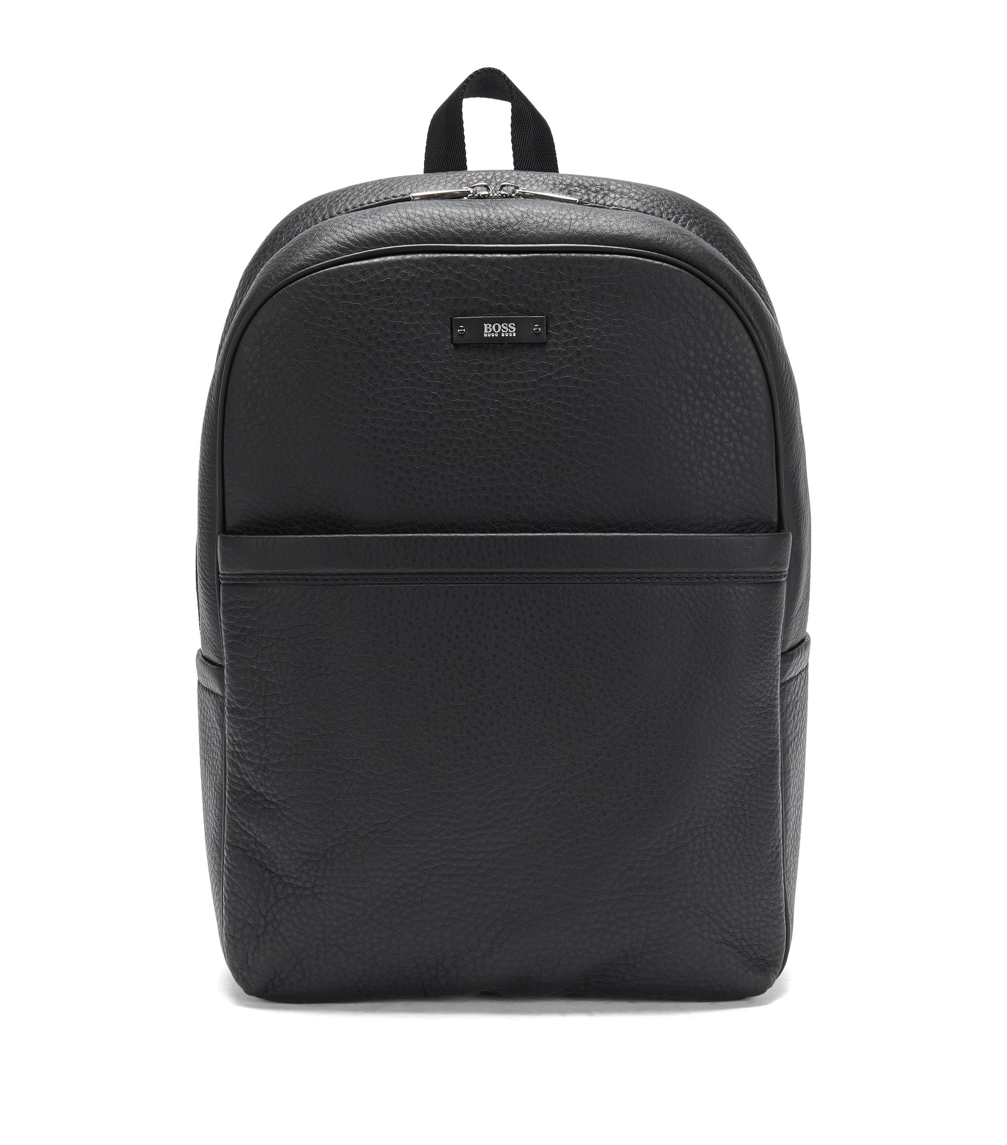 Textured Leather Backpack | Traveller Backp S17, Black
