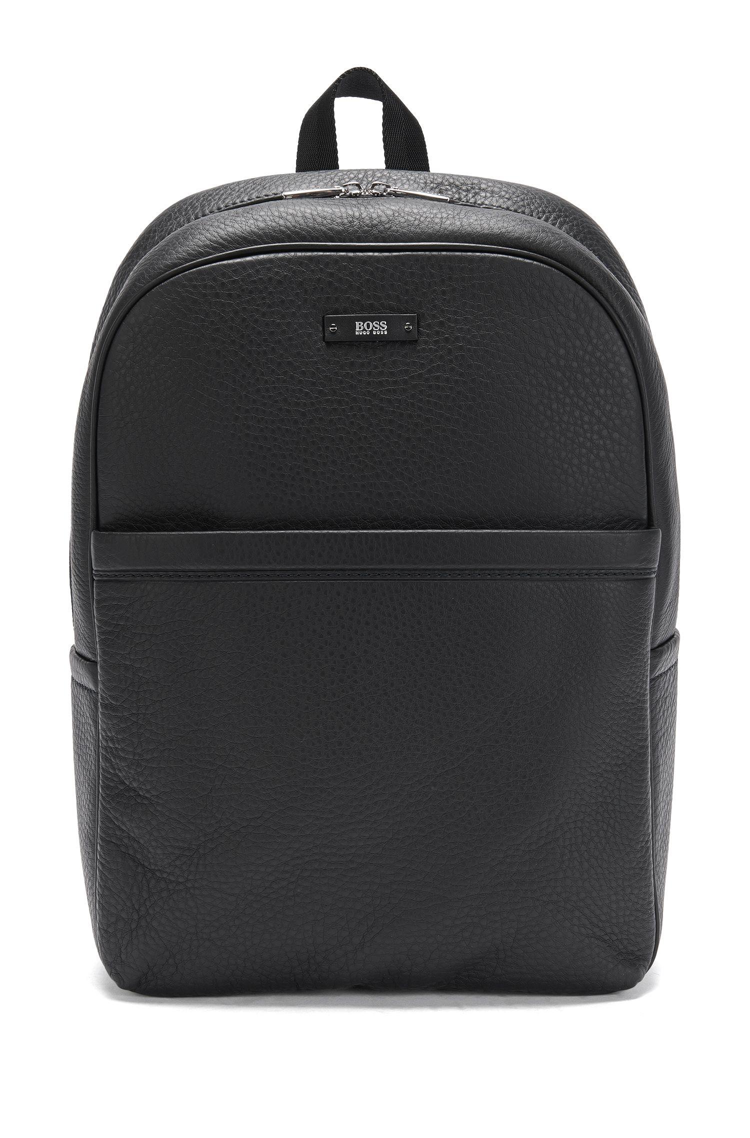 'Traveller Backp' | Textured Leather Backpack