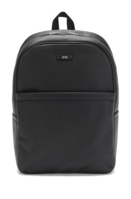 'Traveller Backp' | Textured Leather Backpack, Black