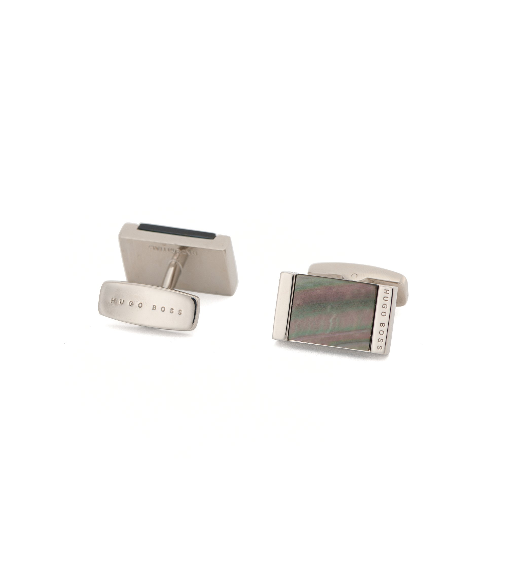 Mother-Of-Pearl Brass Cufflinks | T-Harold, Dark Grey