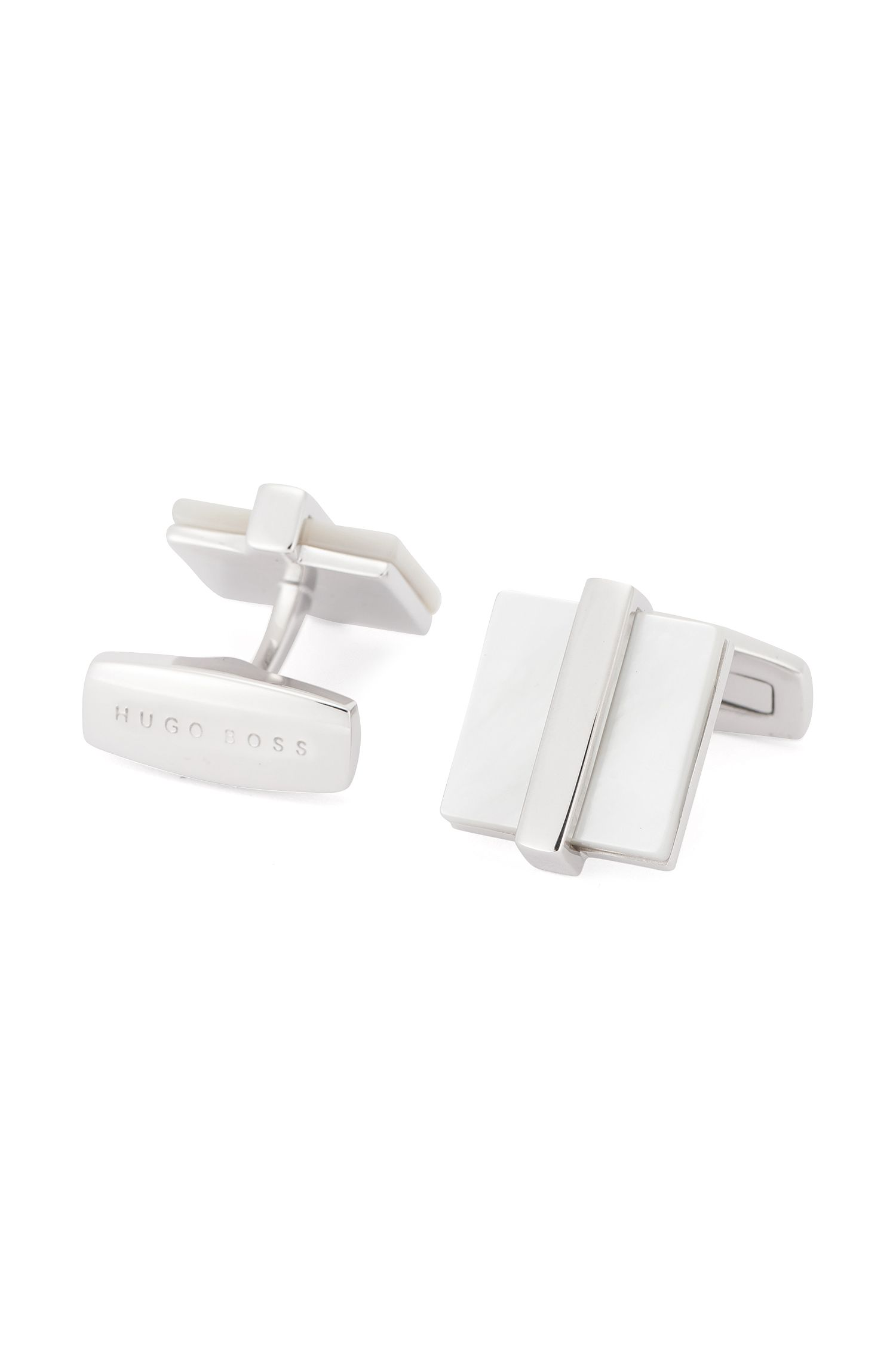Brass Mother-of-Pearl Cufflinks | T-Clive, White