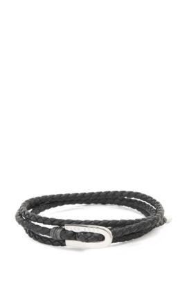 'Barney' | Calfskin Braided Bracelet, Black