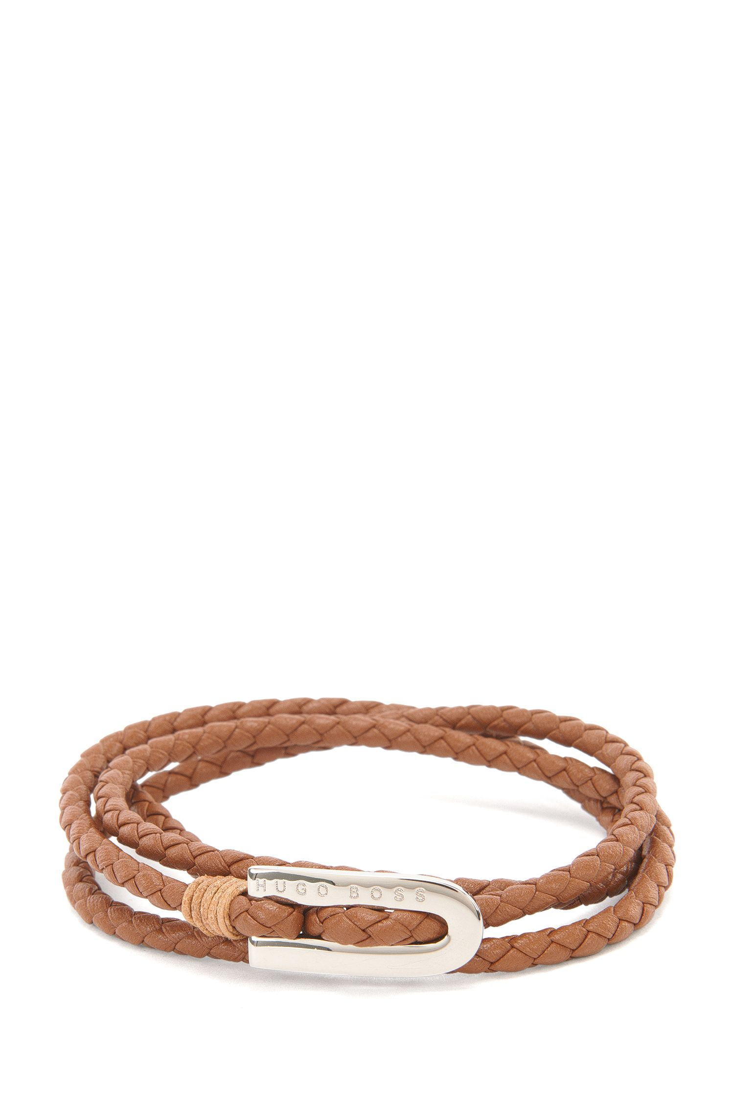 Calfskin Braided Bracelet   Barney, Brown