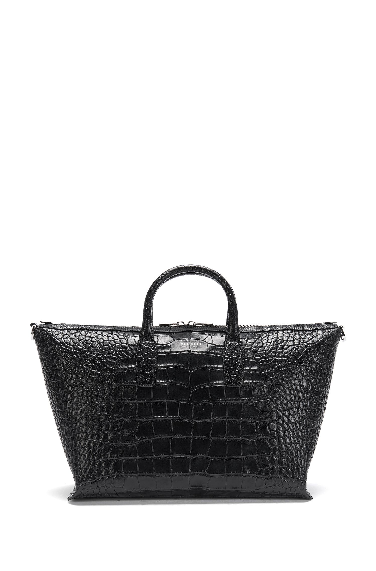'Elite C Holdall' | Alligator-Embossed Leather Weekender