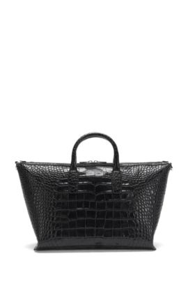 'Elite C Holdall' | Alligator-Embossed Leather Weekender, Black
