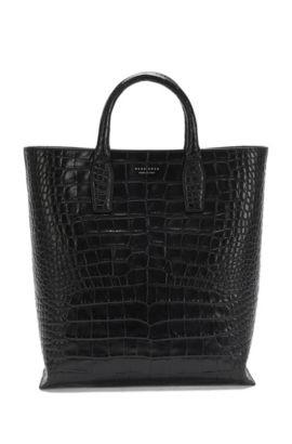 'Elite C Tote' | Alligator-Embossed Leather Shopper, Black