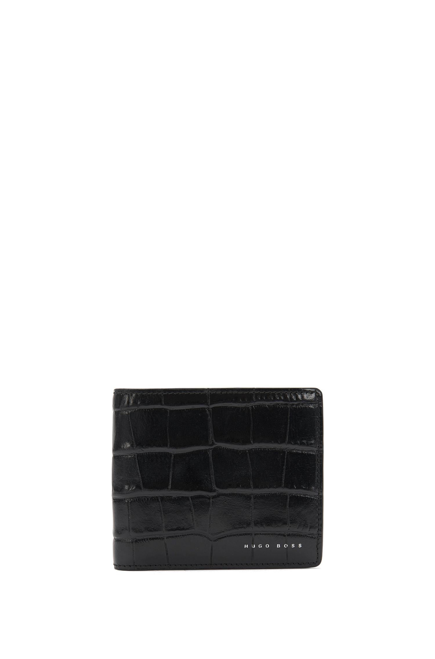 'Elite C CC' | Calfskin Crocodile Wallet