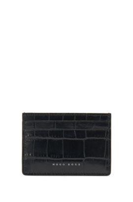 'Elite C S Card' | Calfskin Crocodile Card Case, Black