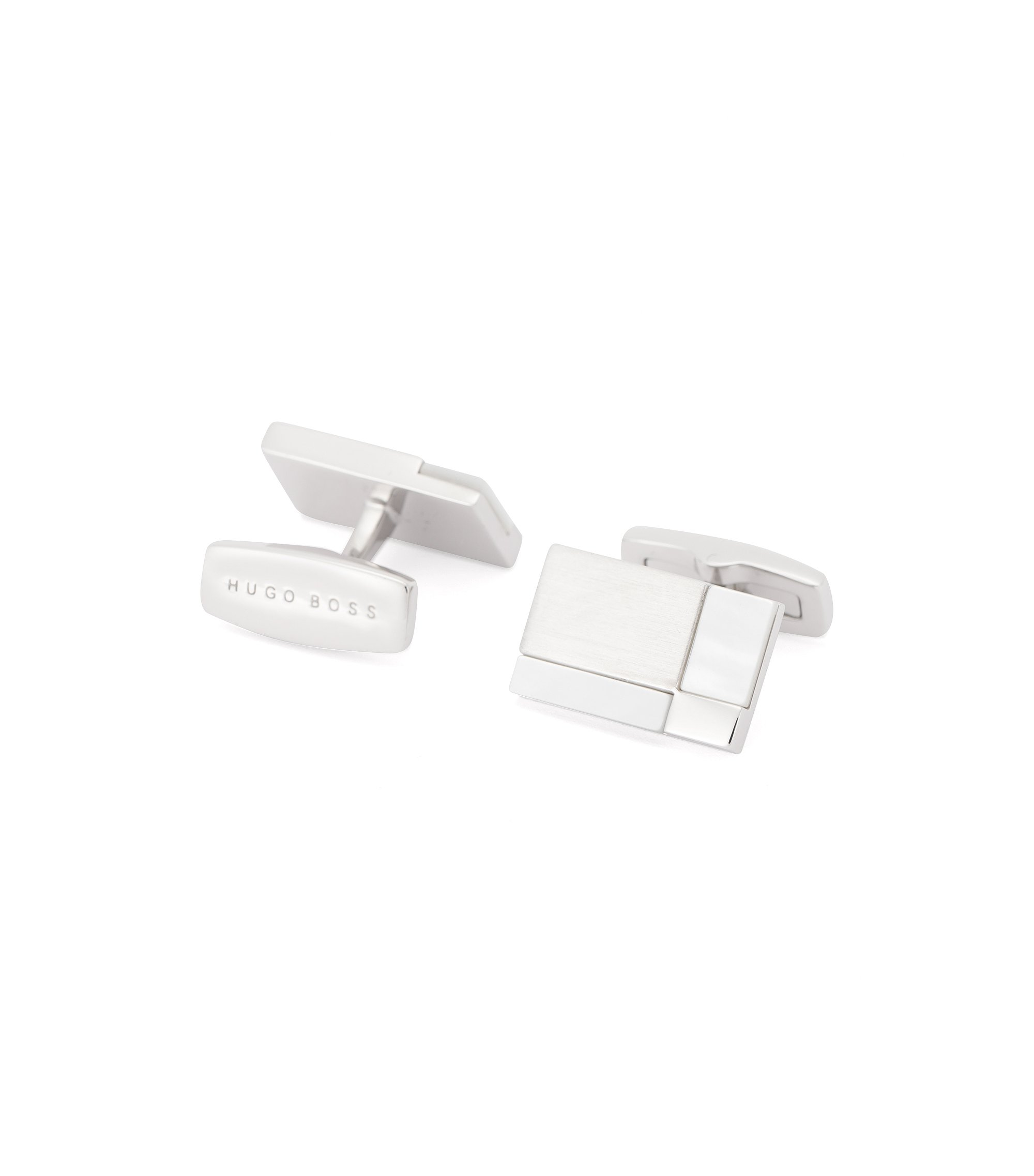 White Onyx & Metal Cufflinks | T-Clark, White