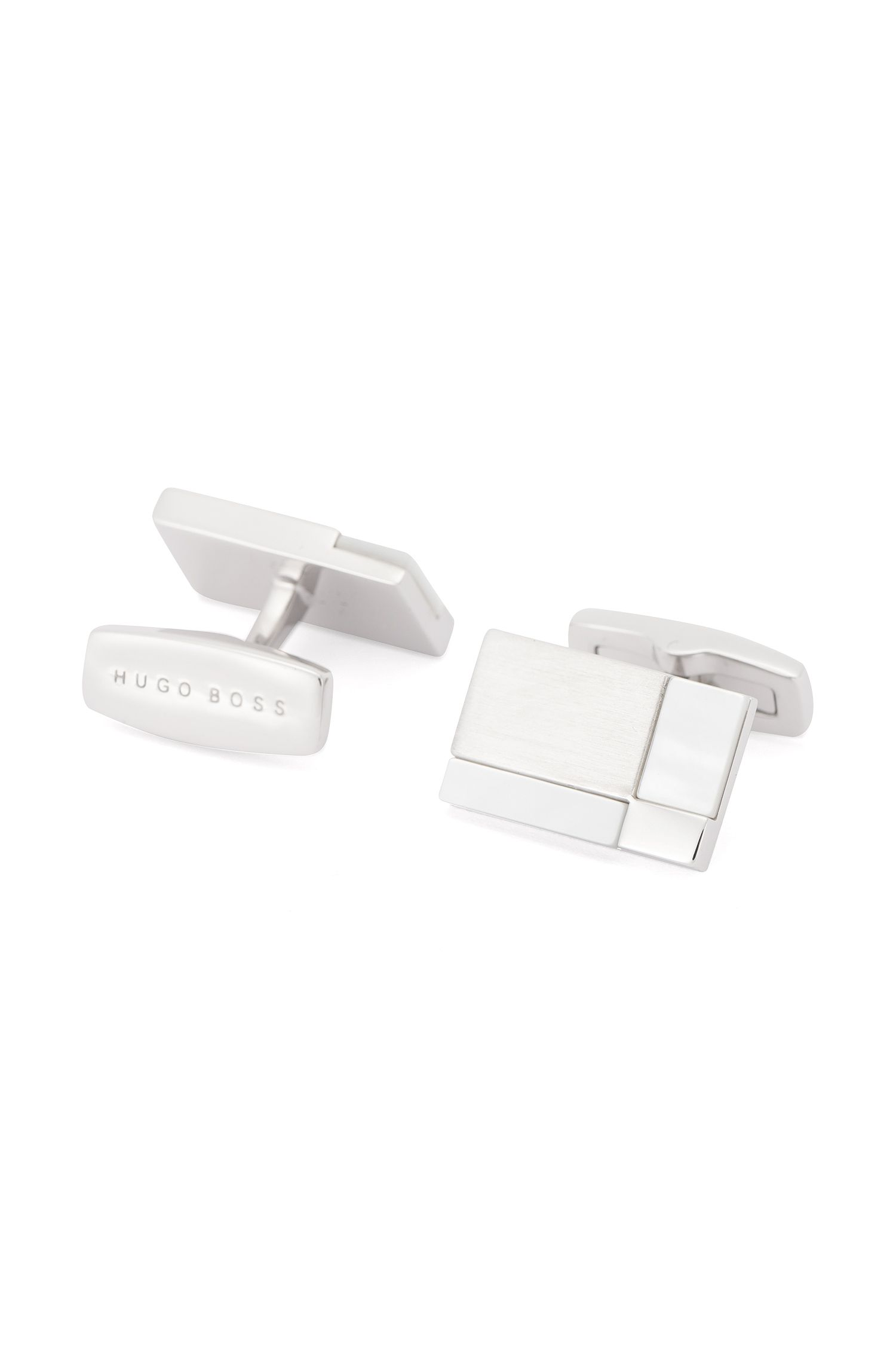 White Onyx & Metal Cufflinks | T-Clark