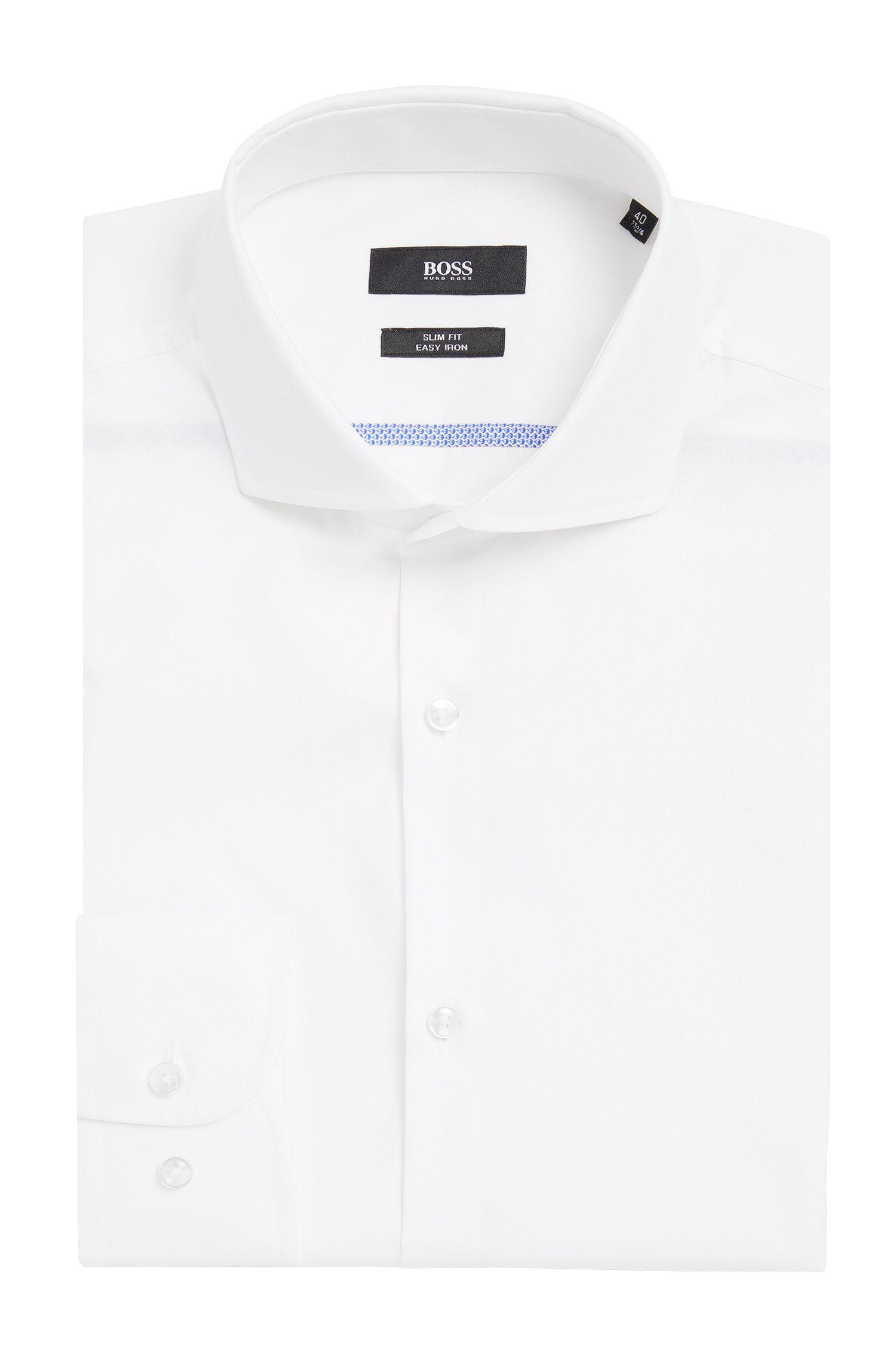 Easy Iron Italian Cotton Dress Shirt, Slim Fit   Jerrin, White