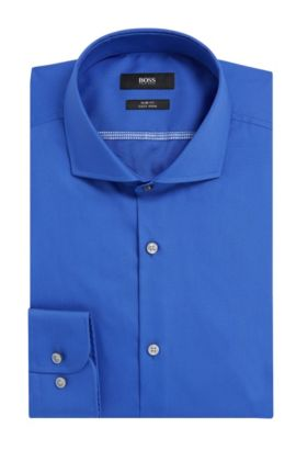 Easy-Iron Italian Cotton Dress Shirt, Slim Fit  | Jerrin, Blue