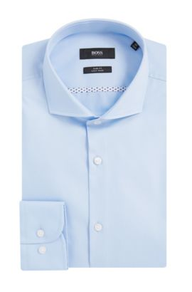 Easy Iron Italian Cotton Dress Shirt, Slim Fit  | Jerrin, Light Blue
