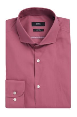 Easy Iron Italian Cotton Dress Shirt, Slim Fit  | Jerrin, Pink