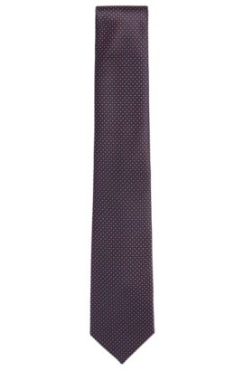 Embroidered Italian Silk Tie, Regular | Tie 7.5 cm, Dark Blue
