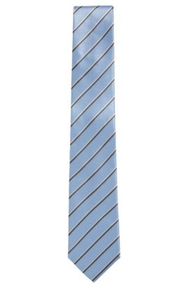 'Tie 7 cm' | Regular, Italian Silk Embroidered Tie, Light Blue
