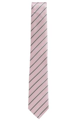 'Tie 7 cm' | Regular, Italian Silk Embroidered Tie, light pink
