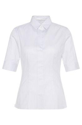 'Bashini2' | Striped Stretch Cotton Blouse, Patterned
