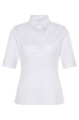 'Bashini2'   Striped Stretch Cotton Blouse, Patterned