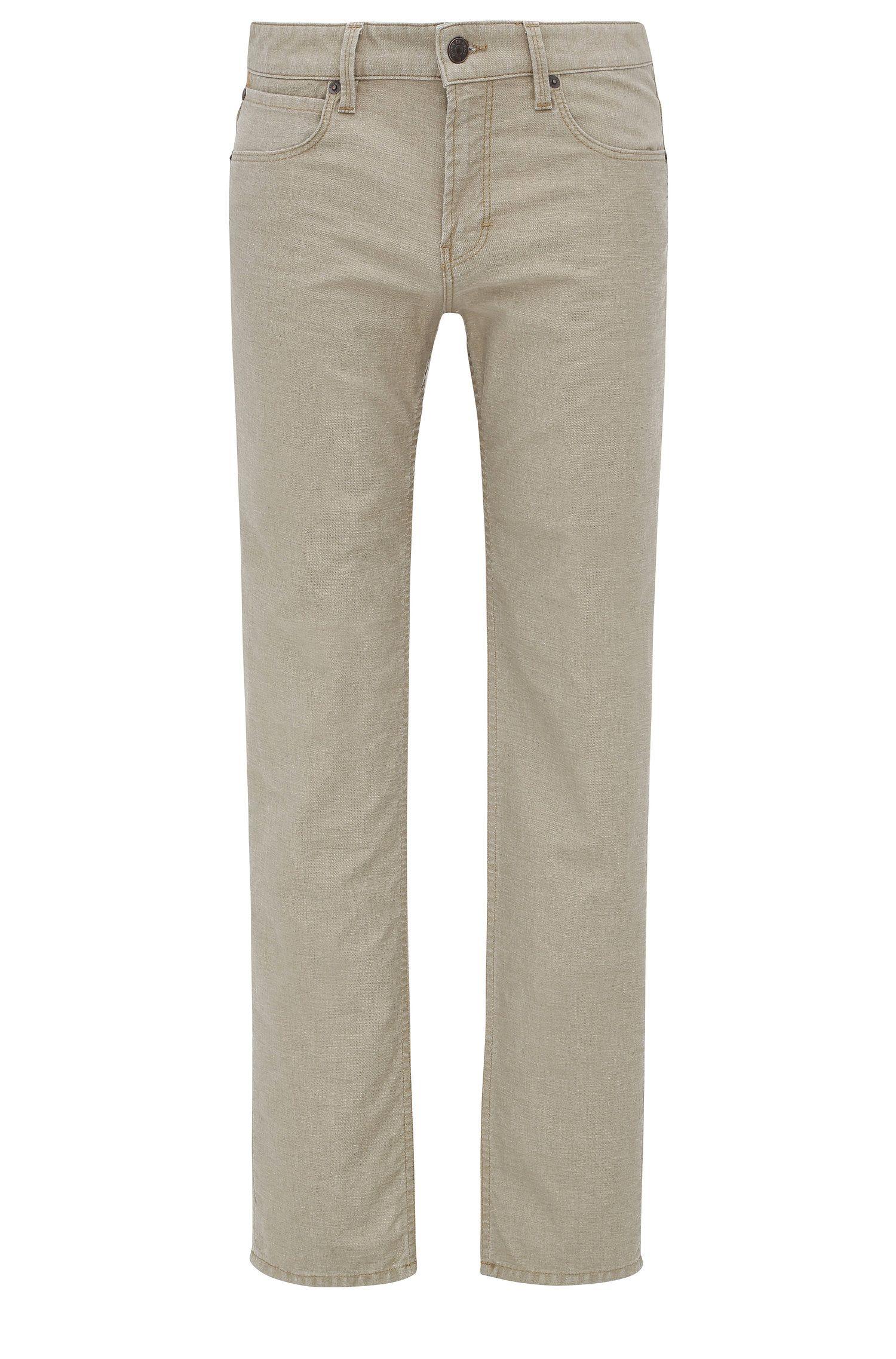 8 oz Stretch Cotton Linen Jeans, Slim Fit | Orange63