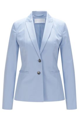 Tailored Stretch Cotton Blazer | Jelany, Turquoise