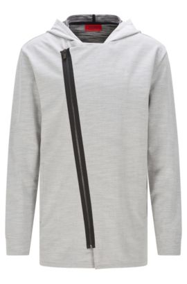 'Dells' | Stretch Cotton Zip Hooded Sweat Jacket, Open Grey