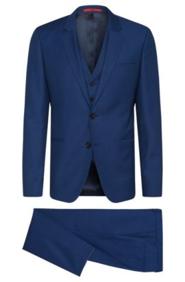 Super 100 Virgin Wool 3-Piece Suit, Slim Fit | Arvon/Wiant/Hilwert, Blue