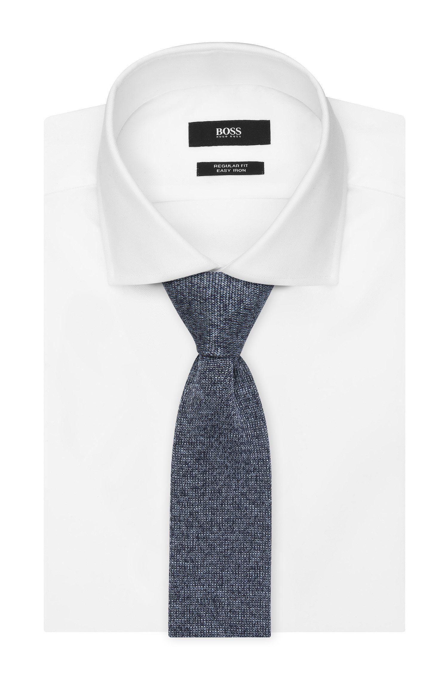 Italian Silk Knit Slim Tie, Open Blue